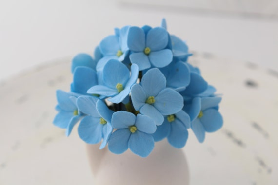 Hair bobby pin polymer clay flowers. Set of 6.  light blue hydrangea - 3 with 2 flowers and 3 with 4 flowers