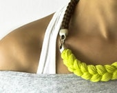 neon rope necklace - statement  necklace in cocoa brown and neon yellow - neon jewelry