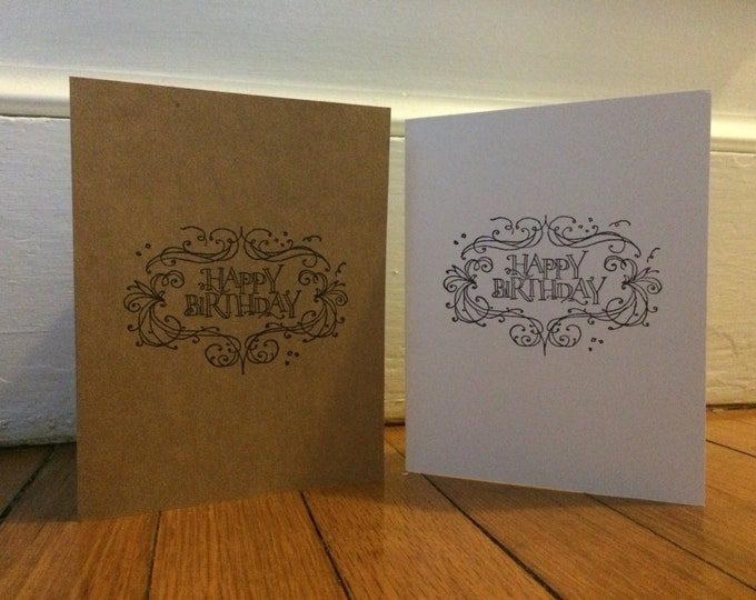 Handmade, Unique, Hand Stamped, Happy Birthday, Greeting Card