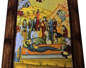 Saint St. Ephraim The Syrian - Repose - Orthodox Byzantine Icon on wood handmade (22.5 cm x 17 cm)