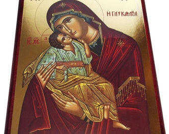 Virgin Mary - Sweet Kissing - Orthodox Byzantine icon - Gilded Icon on wood (28cm x 21.5)