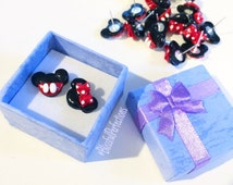 SMALL Mickey & Minnie Mouse Stud Earrings //  Minnie Mouse Earrings // Mickey Mouse Earrings// Nickel Free Earrings // SMALL Disney Earrings