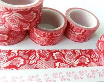 Crazy Sales: Red Flower Washi / Masking Tape - 20 mm x 5M