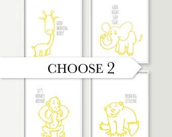 Animals Nursery Decor - Giraffe Monkey Elephant Bear Nursery Decor - Safari / Jungle / Forest - Baby Boy Nursery Wall Art Prints