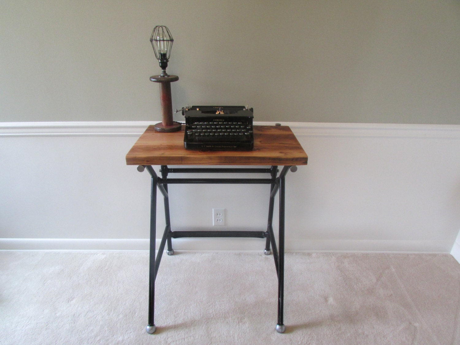 Industrial Accent Table Tall Desk Entry Table by SalvageAndSpruce