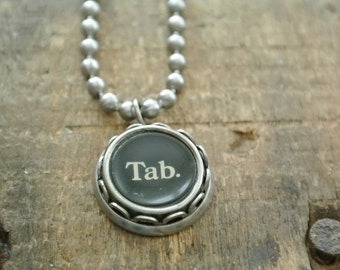 "Typewriter ""Tab"" Necklace-Vintage, UPcycled, Authentic,Typewriter Initial Key Necklace, 2-9, A-Z and punctuation available By UPcycled Works"