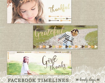 Thanksgiving Facebook Timeline Cover Design Templates for Photographers INSTANT DOWNLOAD