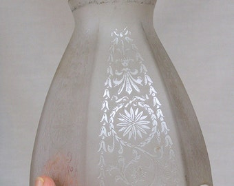 Light Shade Etched Glass Stylized Floral Leaves and Scrolling / 1930s Era Glass Chandelier Shade / Hexagonal Six Sided Shade