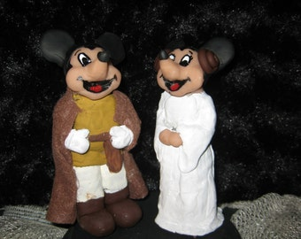 MIckey Mouse and Minnie Mouse Star Wars Wedding Cake Topper Disney Wedding, Star Wars Wedding, Jedi , Princess Leia
