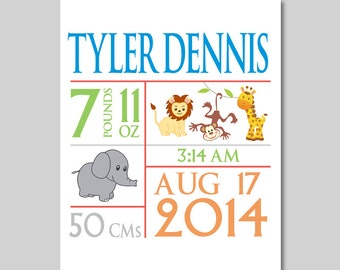 8x10 Baby Boys Birth Annoucement - Time, Date and Name -  Nursery Print - Block Style - Jungle Animals - Nature - Customize - Boys Room
