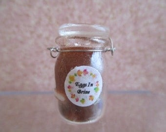 Dollhouse Miniature - Pickled Eggs in Brine - Canning Jar, Old Fashioned Kitchen
