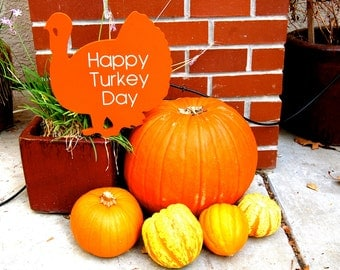 Happy Turkey Day Wooden Thanksgiving Yard Art Sign