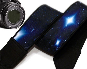 Galaxy  Camera Strap. Cosmos Camera Strap. Stars Camera Strap.   Black Blue Camera Strap