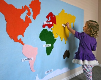 Pattern for World Continent Map - Interactive on Felt or Paper, 3x5 ft. Printable