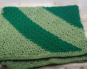Small Afghan, Crocheted throw, lap blanket, baby blanket, green stripes
