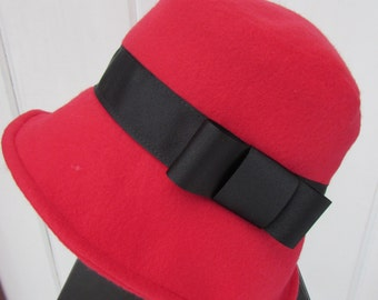 Women's Bright Red Bucket Hat with Black Ribbon Band with Bow