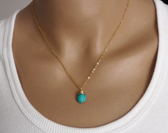 Turquoise necklace, Wire wrapped necklace, Turquoise jewelry, Gold Filled necklace, Handmade necklace