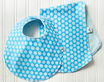 "Bib & Burp Cloth Set, Flannel, ""Flower Power"" in Blue, Baby Blue Flower with Blue Backing , Unisex Baby, Baby Boy, Baby Gift"