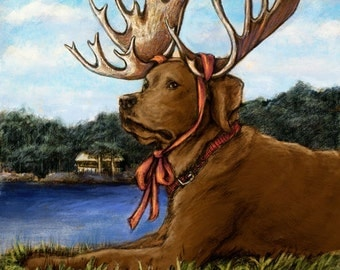Chocolate Lab Moose Art of Labrador Retriever Wearing Antlers