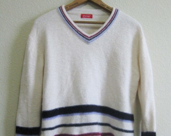 White Purple Angora Sweater Blend Medium Esprit