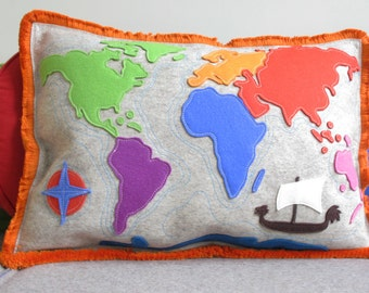 World Map Pillow with Seven Continents in Multi-Color Woo Felt with Orange Fringe, Continent Map Pillow with Pirate Ship and Compass