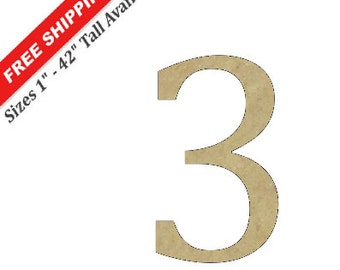 "Unfinished Wooden Number ""3"" in the CAMBRIA Font Style"