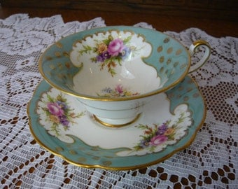 Vintage  EB Foley Cup and Saucer Blue With Flower Bouquets on Stunning White Cartouche With Gold Gilding