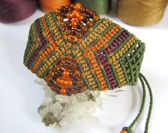 Military Green Kaki Wristband Bracelet with Eggplant Camel Orange Color and Glass Beads Macrame Handmade