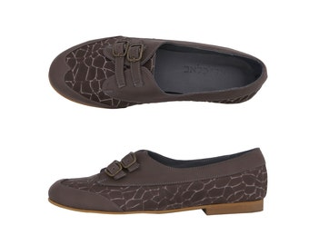 Gray Leather women's shoes flat monk shoe on sale