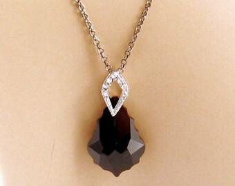 Black Crystal Swarovski Necklace, Black Swarovski Necklace, Black Swarovski Pendant, Swarovski Crystal Pendant, Oxidized Sterling Silver