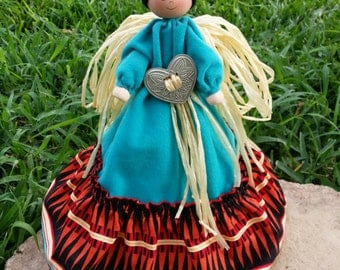 CLEARANCE-CUTE Unique Artisan Handpainted Craft Native American Folk Art Christmas Angel Straw Tree Topper
