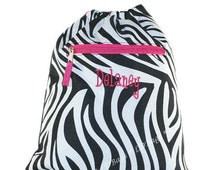 Zebra Hot Pink Cinch Sack Backpack with free embroidery