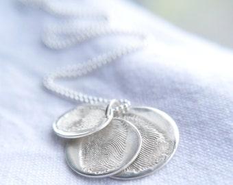 Fingerprint jewellery, Triple descending sterling silver fingerprint charms, Fingerprint necklace, Fingerprint charms