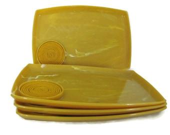 Vintage Lap Trays, 1960's Lucite Tray Set, Mustard Yellow Trays, Mod Plastic Swirl, Serving Tray, 1960's, Mid Century Decor