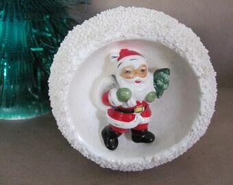 Vintage Christmas Planter, 1950's Relpo Santa Planter, Spaghetti Trim, Santa Snowball Planter, Vintage Santa, Christmas Decor, Decoration