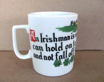 Vintage Irish Mug, 1960's Irish, Shamrock, St. Patrick's Day Mug, Cup, Ceramic Mug, Coffee Cup, Funny Irish Mug, Mid Century, 1960's Decor