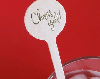 Cheers Y'all Drink Stirrer - Set of 25