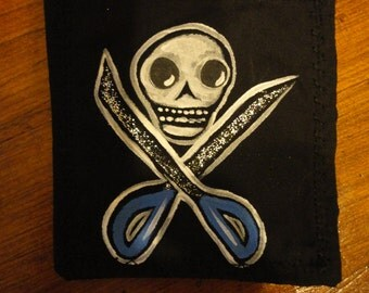 Skull and Crossed Scissors Patch