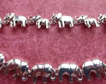 Elephant silver metal bracelet