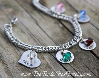 Personalized Mothers charm bracelet hand stamped bracelet stainless charm bracelet up to 6 children Valentine's Day Gift