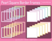 Pearl Square Border Frames Clipart - Digital Printable Clipart (Light Colored)