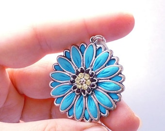 Blue flower polymer clay jewelry blue gift blue flower gift blue aster jewelry polymer clay pendant blue polymer clay necklace blue necklace