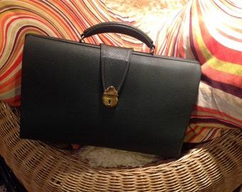 Vintage Ladies Bottle Green Briefcase Bag.