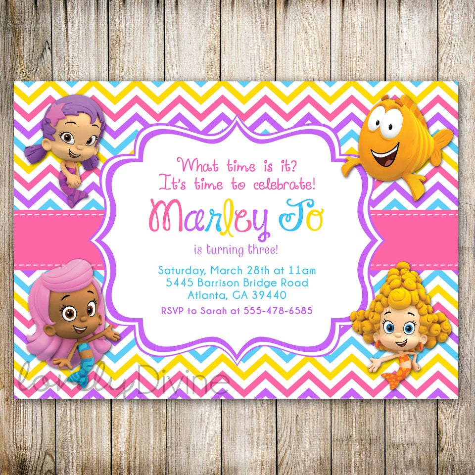 Personalised Boys First Birthday Card Bubbles By August: Bubble Guppies Birthday Invitation Chevron Birthday