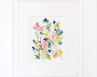 Floral Movement in Orange- Watercolor Art Print