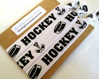 Hockey hair ties, set of sticks and puck hair ties, print FOE, foldover elastic, stocking stuffer ponytail holders, sports, girls gift