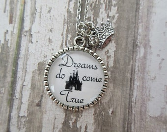 Dreams Do Come True Disney Castle Glass Pendant Necklace With Crown/Crystal Charms