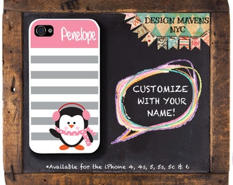 Cute Penguin iPhone Case, Personalized iPhone Case, Striped Phone Case, Fits iPhone 4,  iPhone 5, iPhone 5s, iPhone 5c, iPhone 6