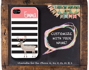 Cute Moose iPhone Case, Personalized iPhone Case, Striped Phone Case, Fits iPhone 4,  iPhone 5, iPhone 5s, iPhone 5c, iPhone 6