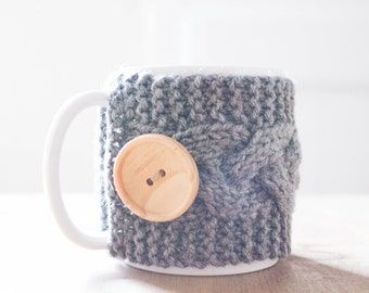 Mug Cozy, Gray Knit with Wood Button, mug cozie, mug sleeve, coffee cup cozy, cable knit